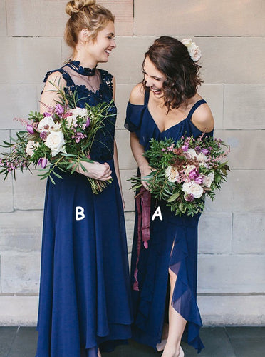 Navy Blue A/B Pattern Chiffon Long Bridesmaid Dresses with Ruffles, OB123