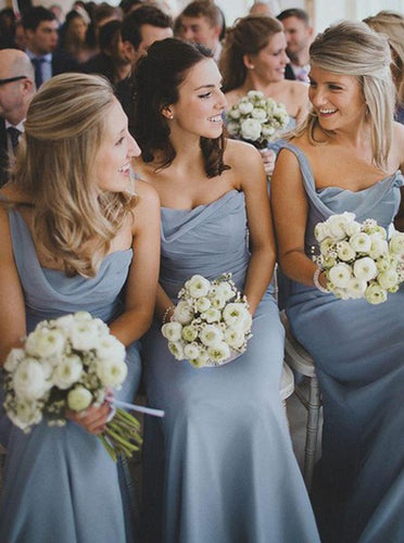 Charming One Shoulder Chiffon Ruched Long Bridesmaid Dresses, OB111