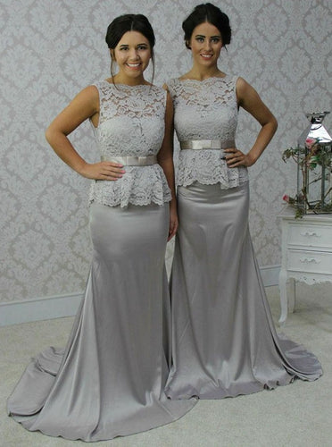 Bateau Sheath Grey Long Bridesmaid Dresses With Lace OB294