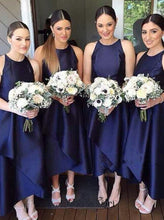 Jewel Navy Blue Bridesmaid Dress, Tea Length Satin Party Dress, OB106