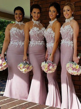 Halter Blush Mermaid Long Bridesmaid Dresses with Appliques OB296