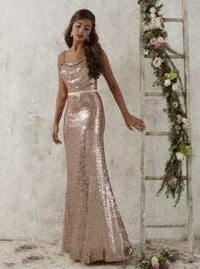 Spaghetti Straps Rose Gold Sequined Sheath Bridesmaid Dress OB297