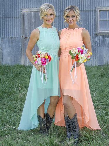 Bateau Asymmetry Mint/Peach Chiffon Bridesmaid Dresses with Appliques OB298