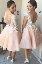 A-line Knee-Length Short Bridesmaid Dresses with Lace Appliques OB299