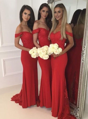 Off Shoulder Mermaid Red Bridesmaid Dresses with Sequins Appliques OB300