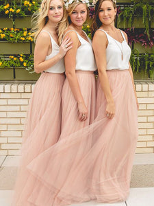 Simple V-Neck Tulle Ruched Pearl Pink Long Bridesmaid Dresses, OB129