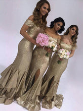 Short Sleeves Mermaid Sequins Gold Bridesmaid Dresses with Ruffles Split OB301