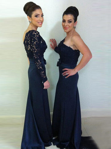 Sheath One-shoulder Long Sleeve Dark Blue Bridesmaid Dresses with Lace OB302