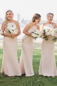 Simple Square Sheath Pearl Pink Bridesmaid Dresses with Lace OB303