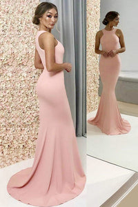 Simple Jewel Floor Length Pearl Pink Mermaid Bridesmaid Dresses OB304