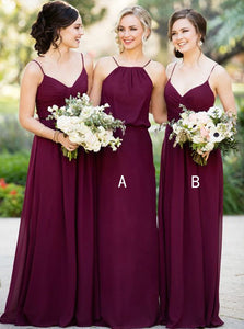 A-Line Spaghetti Straps A/B Pattern Chiffon Fuchsia Bridesmaid Dress, OB119