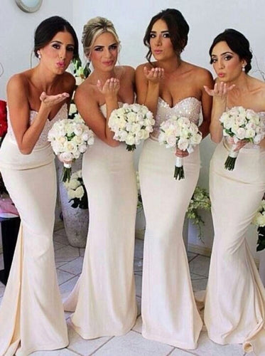 Sparkly Sweetheart Mermaid Chiffon Long Bridesmaid Dresses