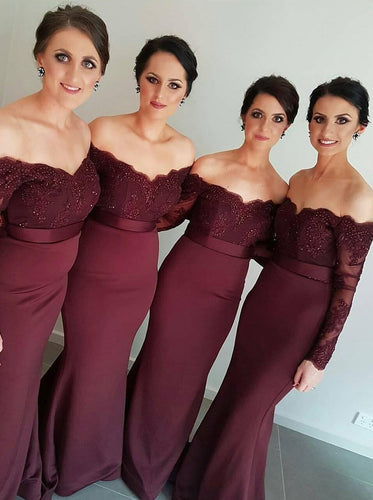 Burgundy/Maroon Long Sleeves Off-the-Shoulder Trumpet/Mermaid Bridesmaid Dress, OB105