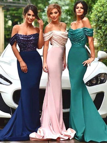 Off Shoulder Mermaid/Trumpet Long Bridesmaid Dress with Sequins OB285