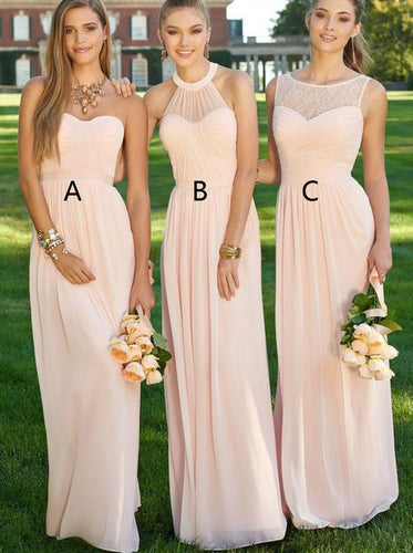 A-line Sleeveless Pearl Pink Chiffon Long Bridesmaid Dresses With Ruched OB286