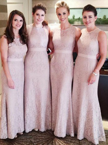 Elegant Lace Round Neck Sheath/Column Bridesmaid Dress, OB112