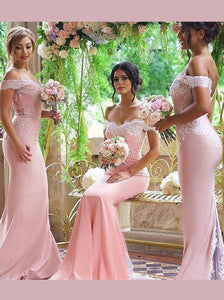 Elegant Off shoulder Mermaid Pink Bridesmaid Dresses with Lace OB288