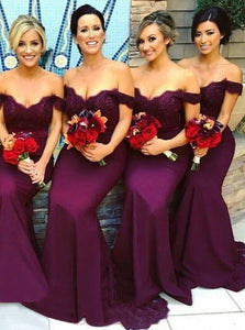 Mermaid Off-Shoulder Drop Sleeve Lace Bodice Elastic Satin Purple Bridesmaid Dress, OB113