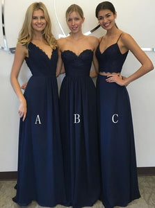 A-line Navy Blue Chiffon Floor Length Bridesmaid Dresses With Lace OB290