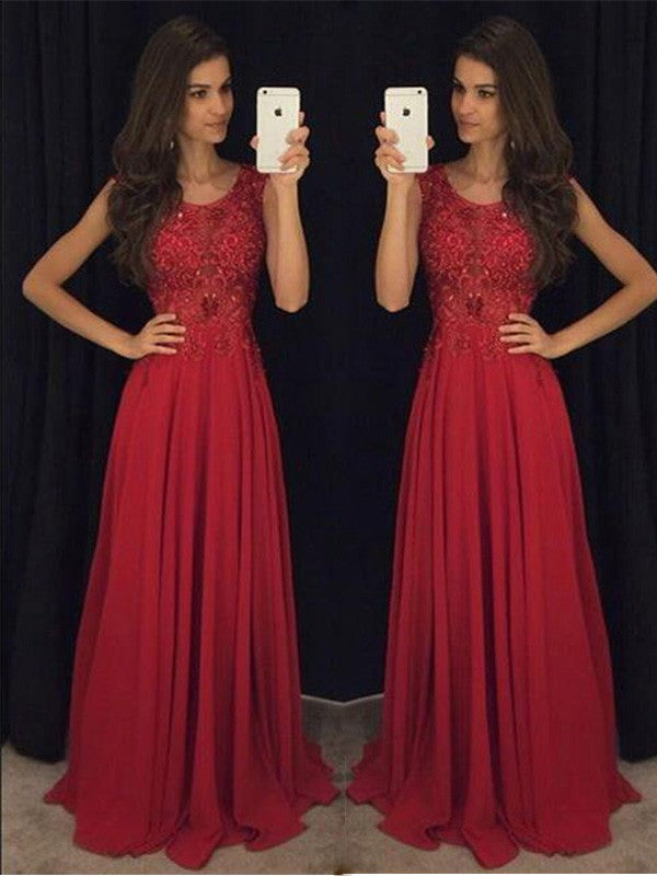 Elegant A-Line/Princess Scoop Red Chiffon Prom Dresses, Formal Evening Gown OP113