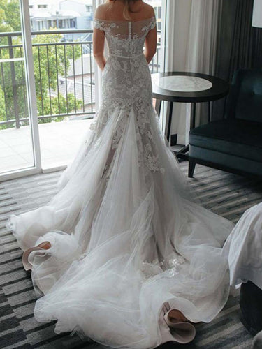 Off-the-Shoulder Applique Lace Trumpet/Mermaid Tulle Wedding Dresses OW289