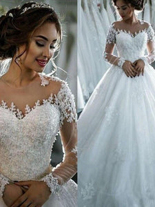 Long Sleeves Applique Sheer Scoop Tulle Ball Gown Wedding Dresses OW291