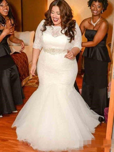 1/2 Sleeves Lace Trumpet/Mermaid Tulle Plus Size Wedding Dresses OW297
