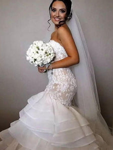 Trumpet/Mermaid Applique Lace Sweetheart Ruffles Organza Wedding Dresses OW299