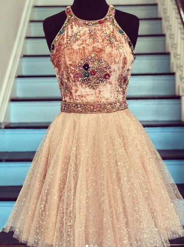 Glitter Tulle Beads Short Prom Dress Scoop Embroidery Homecoming Dress OM316