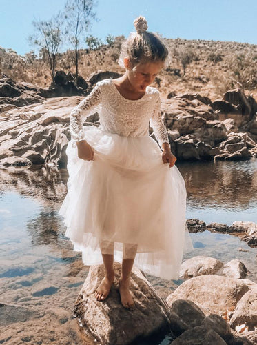 Lace Long Sleeves Tulle Long Flower Girl Dress With Open Back OF131