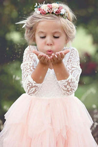 Lace 3/4 Sleeves Scoop Pink Tea-Length Flower Girl Dress with Ruffles OF141