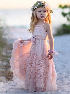 Chic Flower Girl Dress Halter Blush Tulle with Ruffles Flowers, OF101