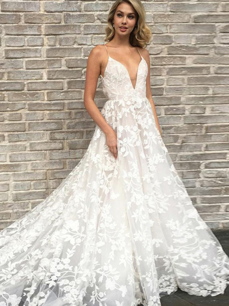 Modern A Line Spaghetti Straps Plunge Neckline Lace Applique Wedding Dress Ow307 Ombreprom Co Uk