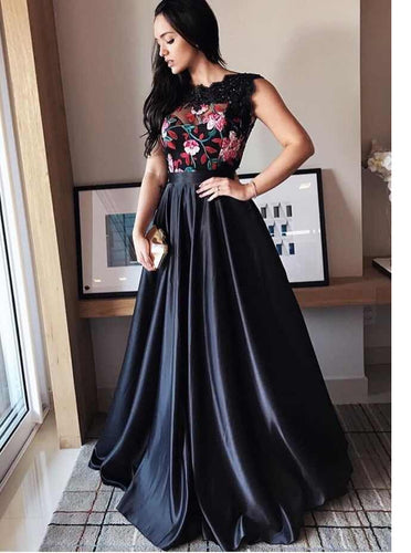 A-Line Black Formal Prom Dress with Lace Floral Embroidery OP666