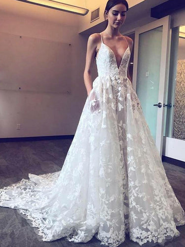 Modern A-Line Spaghetti Straps Plunge Neckline Lace Applique Wedding Dress OW307