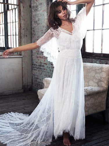 Cheap A-Line V-Neck Lace Wrap Boho Half Sleeves Beach Wedding Dress OW308