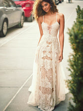 A-Line Spaghetti Straps Tulle Beach Wedding Dress, Boho Wedding Gown with Lace Appliques OW310