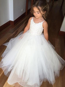 Spaghetti Straps Tulle Tutu Ball Gown Flower Girl Dress, OF102
