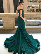 Off-The-Shoulder Fishtail Evening Dress, Sexy Sparkly Formal Gown OP864