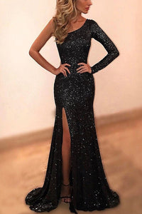 Elegant One-Shoulder Long Sleeve Spilt Sequined Black Evening Dress OP862