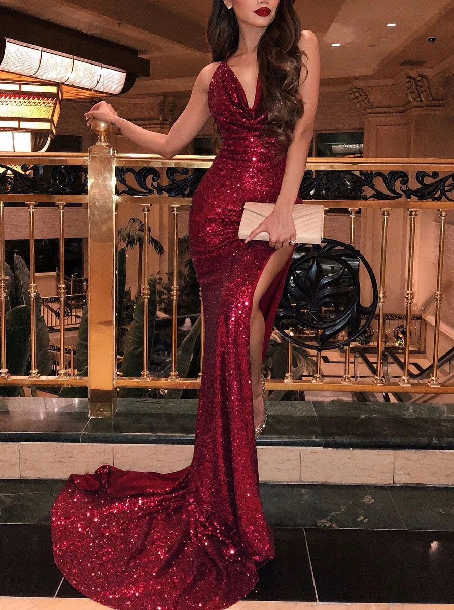 Sparkly Mermaid V-Neck Burgundy Prom Dress, Evening Dress With Split OP861