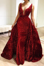 2 In 1 V-neck Mermaid Burgundy Prom Dress, Pageant Dress with Detachable Train PO008
