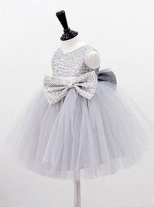 Jewel Sequins Bodice Gray Tullw Flower Girl Dress with Bowknots, OF105