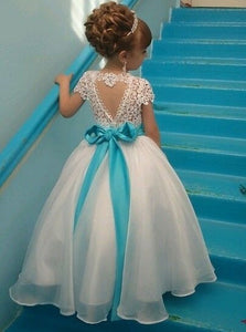 Cap Sleeves Ball Gown Jewel Lace Flower Girl Dress with Ribbon Bowknot, OF106