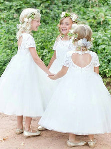 Jewel Lace Short Sleeves Heart-Back Tulle Ball Gown Flower Girl Dress, OF107