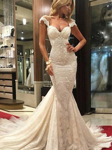 Sexy Trumpet Sleeveless Sweep/Brush Train Lace Mermaid Wedding Dresses OW135