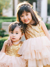 Sequins Gold Tulle Flower Girl Ball Gown Dress with Bowknot, OF108