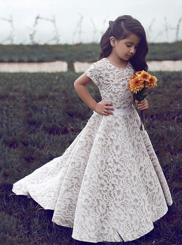 Round Neck Short Sleeves Lace Flower Girl Dress with Sash, OF109