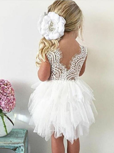 Short Lace Ball Gown Round Neck Tulle Flower Girl Dress, OF110