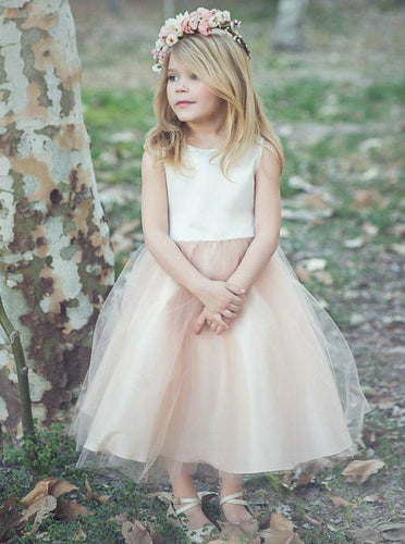 Princess Bateau Tea-Length Tulle Blush Flower Girl Dress, OF111